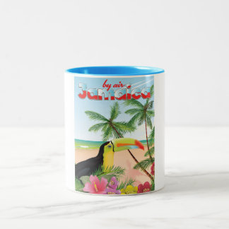 Jamaica toucan beach poster Two-Tone coffee mug