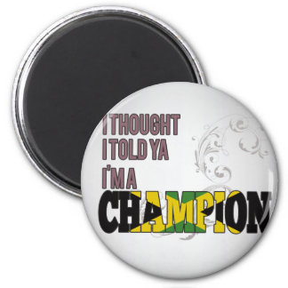 Jamaican and a Champion 2 Inch Round Magnet