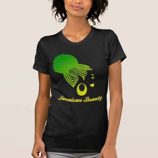 Jamaican Beauty Black Tshirt Green and Yellow