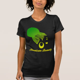 Jamaican Beauty Black Tshirt Green and Yellow