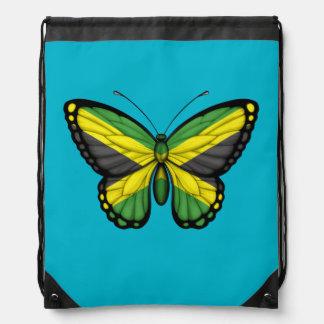 Jamaican Butterfly Flag Drawstring Bag