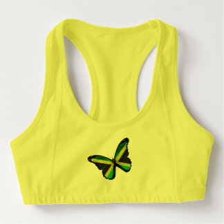 Jamaican Flag Butterfly Sports Bra