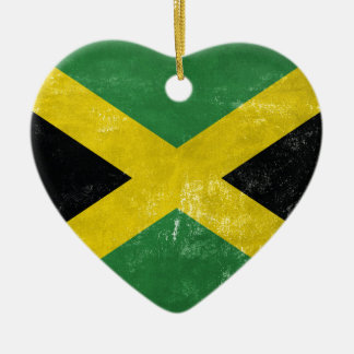 Jamaican Flag Ceramic Heart Ornament