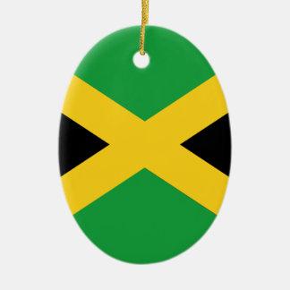 Jamaican flag ceramic oval ornament