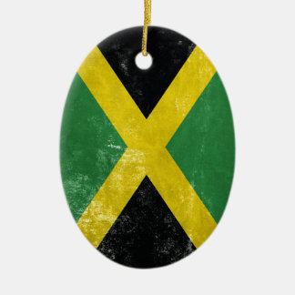 Jamaican Flag Ceramic Oval Ornament