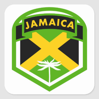 Jamaican Flag Crest Style Square Sticker