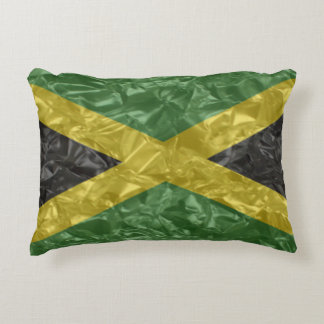 Jamaican Flag - Crinkled Accent Pillow