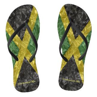 Jamaican Flag - Crinkled Flip Flops