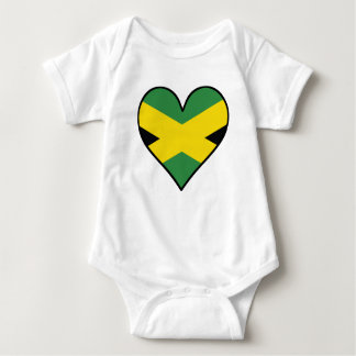 Jamaican Flag Heart Baby Bodysuit