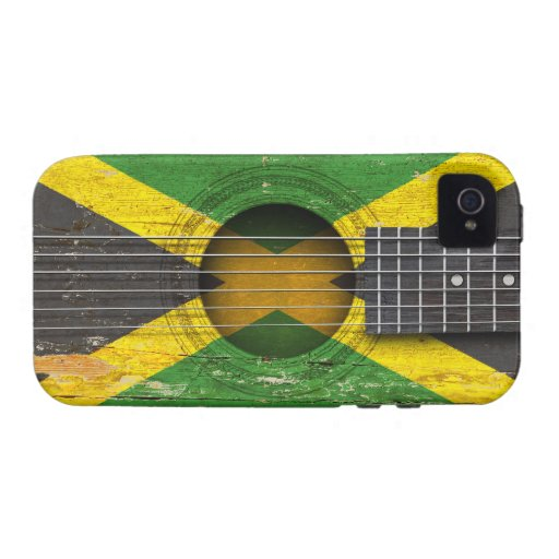 Jamaican Flag on Old Acoustic Guitar Vibe iPhone 4 Case
