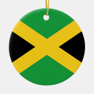 Jamaican flag round ceramic ornament