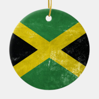 Jamaican Flag Round Ceramic Ornament