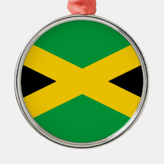 Jamaican Flag Silver-Colored Round Ornament