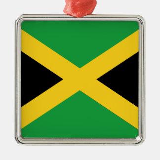 Jamaican flag Silver-Colored square ornament