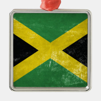 Jamaican Flag Silver-Colored Square Ornament