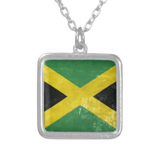 Jamaican Flag Silver Plated Necklace