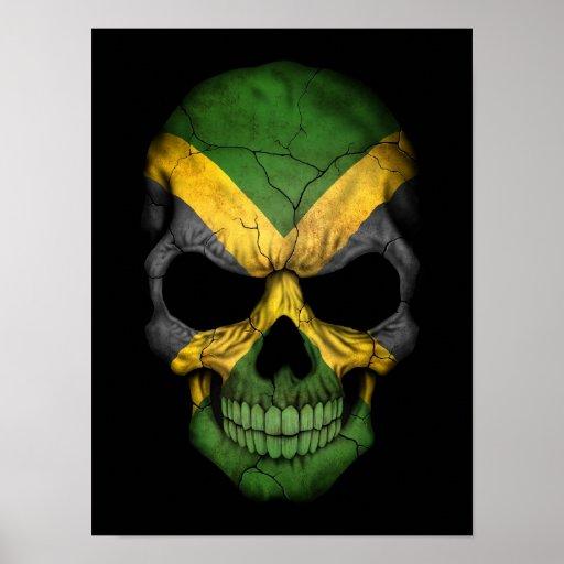 Jamaican Flag Skull on Black Poster