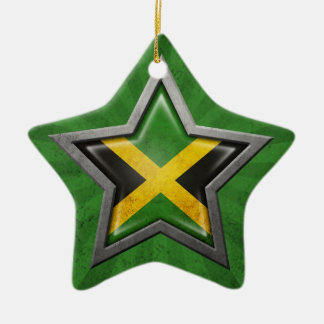 Jamaican Flag Star with Rays of Light Ceramic Ornament