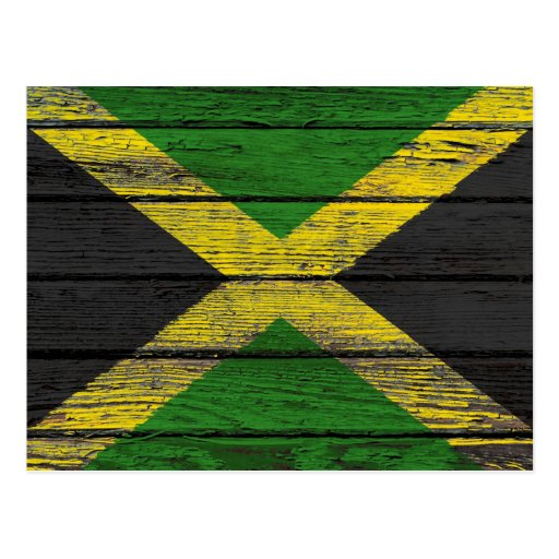 Jamaican Flag with Rough Wood Grain Effect Post Cards