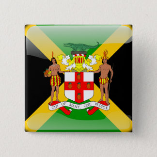 Jamaican glossy flag 2 inch square button