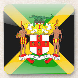 Jamaican glossy flag coaster