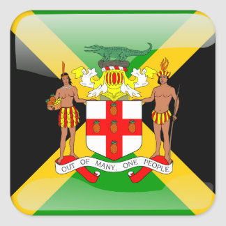 Jamaican glossy flag square sticker