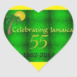 Jamaican Independence Heart Shaped Sticker