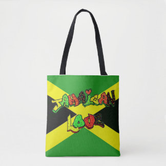 Jamaican love in graffiti letters tote bag