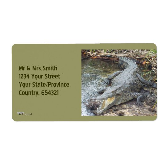 Jamaican Salt Water Crocodile Shipping Label