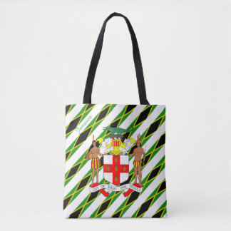 Jamaican stripes flag tote bag