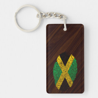 Jamaican touch fingerprint flag Double-Sided rectangular acrylic keychain