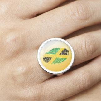 Jamaican touch fingerprint flag ring