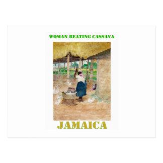 Jamaican Woman Beating Cassava on Farm Postcard