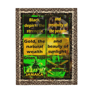 Jamaica's Flag Colors Definition Wood Wall Art 2