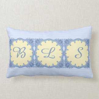 Jamavar India Lace_Blue and Yellow_Personalized Lumbar Pillow