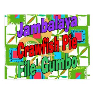 Jambalaya Crawfish Pie Cajun Dish File' Gumbo Song Postcard