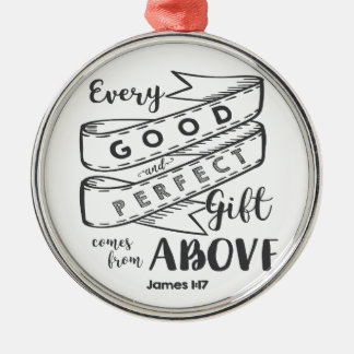 James 1 17 Typography Silver-Colored Round Ornament