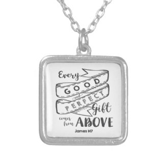 James 1 17 Typography Silver Plated Necklace