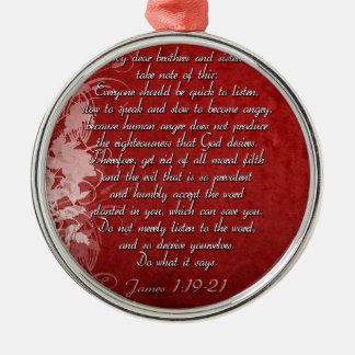 James 1:19 Scripture Gift Silver-Colored Round Ornament