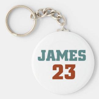 James 23 basic round button keychain