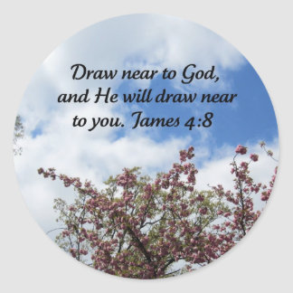 James 4:8 classic round sticker