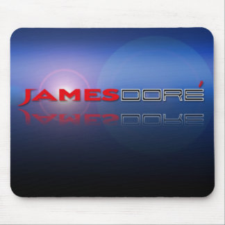 James Dore Logo blue lense flare mouse pad