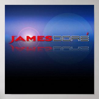 James Dore' Red & Black Letter Blue Lens Flare Pri Poster