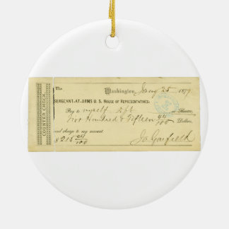 James Garfield Signed Check from January 25th 1877 Round Ceramic Ornament