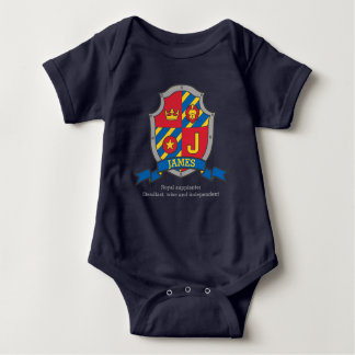 James J letter name meaning crest knights shield Baby Bodysuit