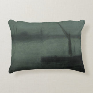 James McNeill Whistler - Nocturne- Blue and Silver Decorative Pillow