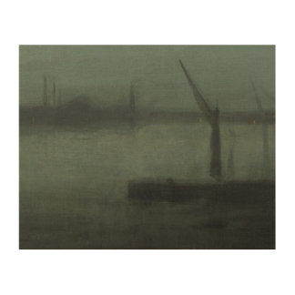 James McNeill Whistler - Nocturne- Blue and Silver Wood Wall Art