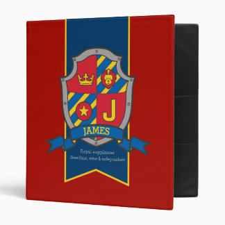 James name meaning knight shield J letter red blue 3 Ring Binder