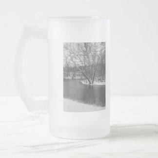 James River Cuts Back Grayscale Frosted Glass Beer Mug