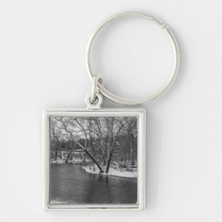 James River Cuts Back Grayscale Silver-Colored Square Keychain